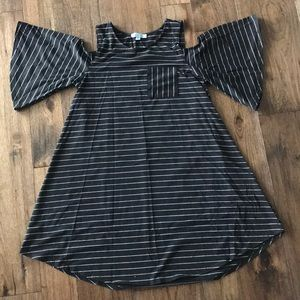 Black and white striped, NBW, cold shoulder dress